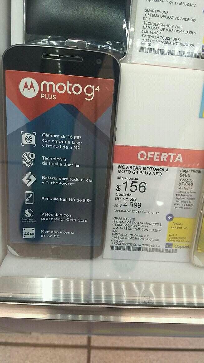 Coppel: MotoG4 plus a $4,599