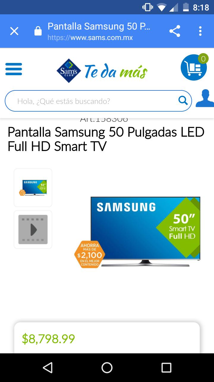 Sam's Club: Pantalla Samsung 50 Pulgadas LED Full HD Smart TV J5500