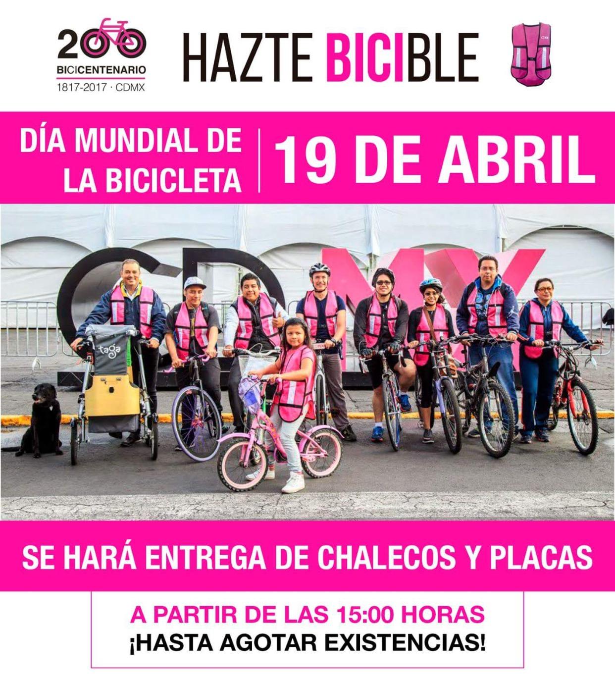 CDMX: Hazte bicible, chalecos y placas gratis para bicicletas