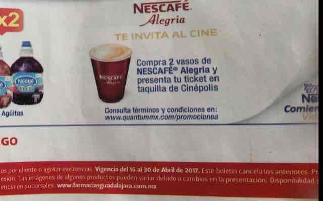 Cinepolis: Promoción cinepolis con Nescafé: boleto gratis al comprar 2 cafés