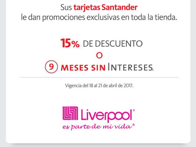 Liverpool: 15% de descuento en toda la tienda pagando con Santander
