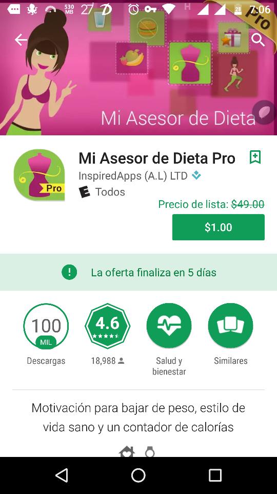 Google Play : Mi Asesor de Dieta Pro 1 peso