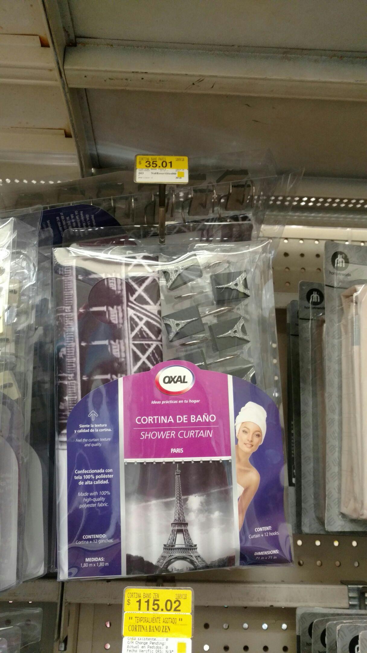 Walmart Taxqueña CdMx cortina para baño de $259 a $35.01 llevele llevele lleveleeeeeppppp
