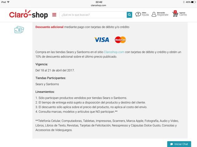 Claro Shop: 10% de descuento, Visa y MasterCard