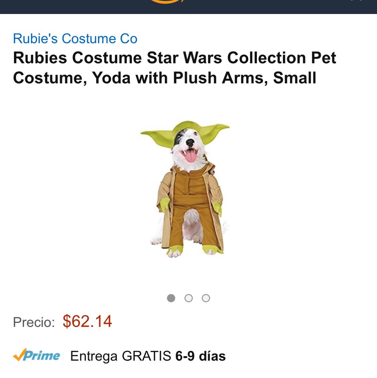 Amazon: Disfraz de Yoda para perro chico