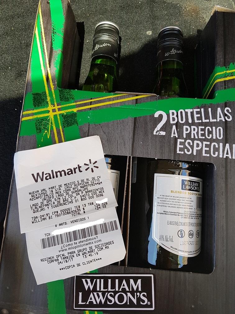 Walmart: paquete 2 botellas Whisky William Lawson´s a $124.02