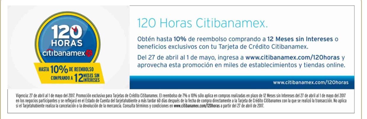 Banamex 120 horas 10% descuento 12 MSI