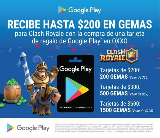 Hasta 1500 gemas en Clash Royale al canjear tarjetas Google Play a la venta en OXXO
