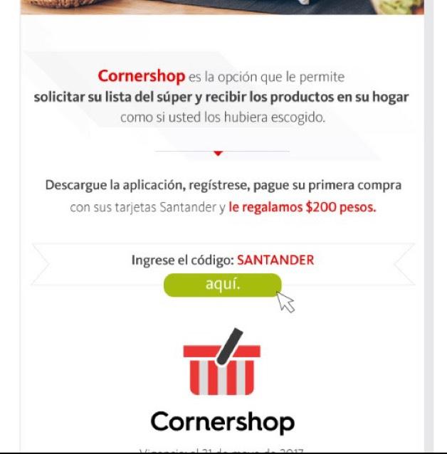 Cornershop: 200 MXN en primera compra con Santander