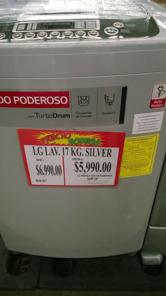 Bodega Aurrerá: Lavadora LG 17kg a $5,990 y 12MSI