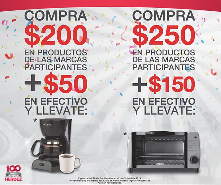 Cafetera a $50 y hornito a $150 con compra mínima de productos Grupo Herdez