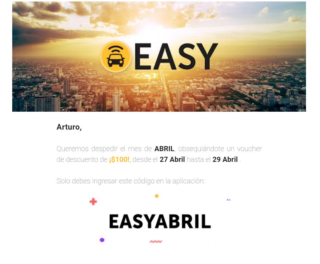 Easy taxi: $100 de descuento
