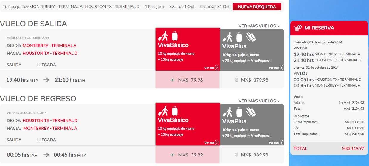 Vivaaerobus: vuelo redondo de Monterrey a Houston 120 pesos, Guadalajara a Houston $173