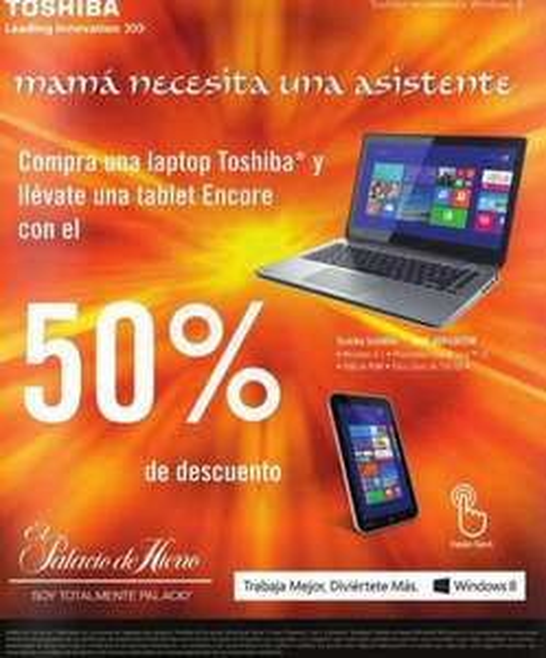 Palacio de Hierro: tablet Encore a mitad de precio comprando una laptop Toshiba