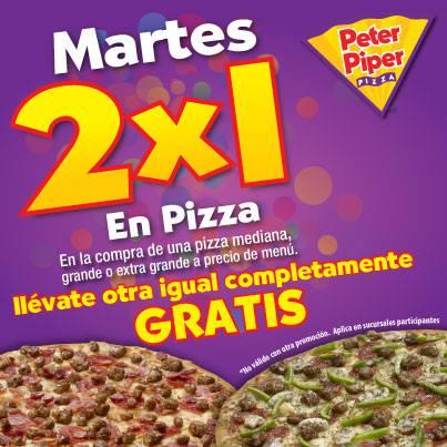 Peter Piper Pizza: 2x1 en pizzas todos los martes