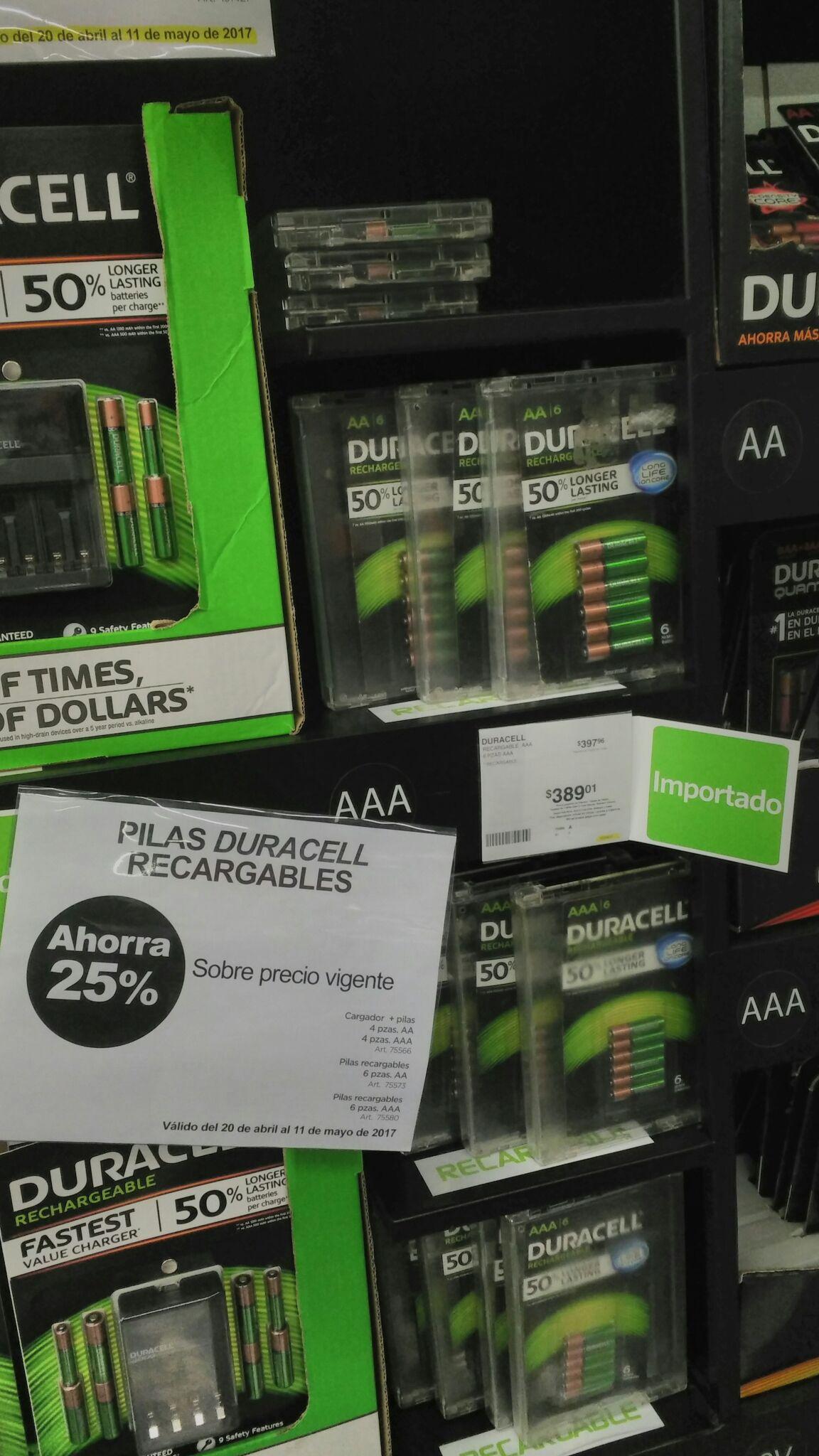 Sam's Club: baterías duracell recargables 25%