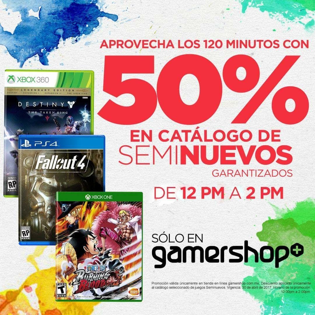 Gamers Retail: 120 Minutos con 50% de descuento en  videojuegos seminuevos.