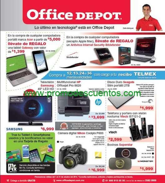 Folleto de ofertas en Office Depot octubre 2014
