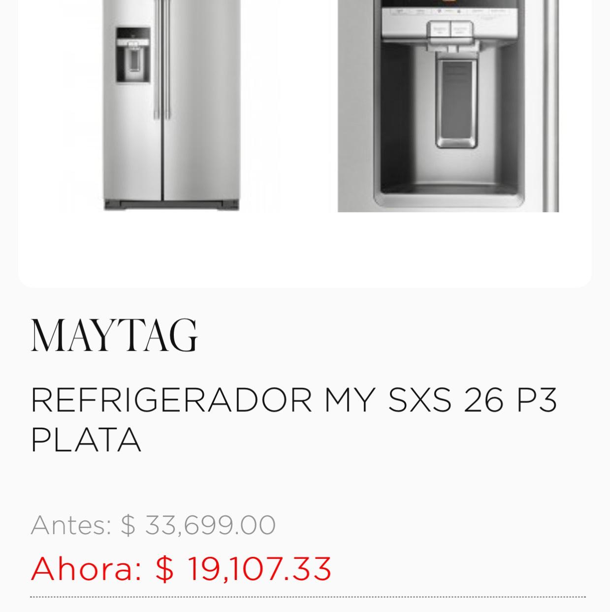 Palacio de Hierro: súper ofertas en línea blanca (ej. Refrigerador My Sxs 26 P3 $19,107)