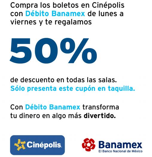 Cinépolis: 50% de descuento en todas las salas con débito Banamex