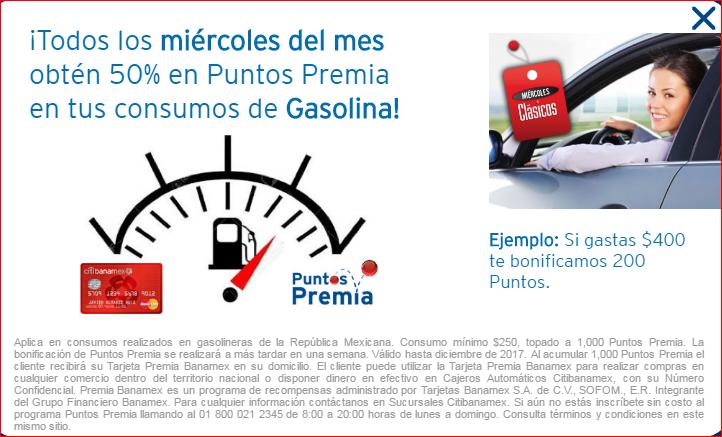 Miercoles Clasicos Banamex 2017: 50% en puntos premia comprando gasolina