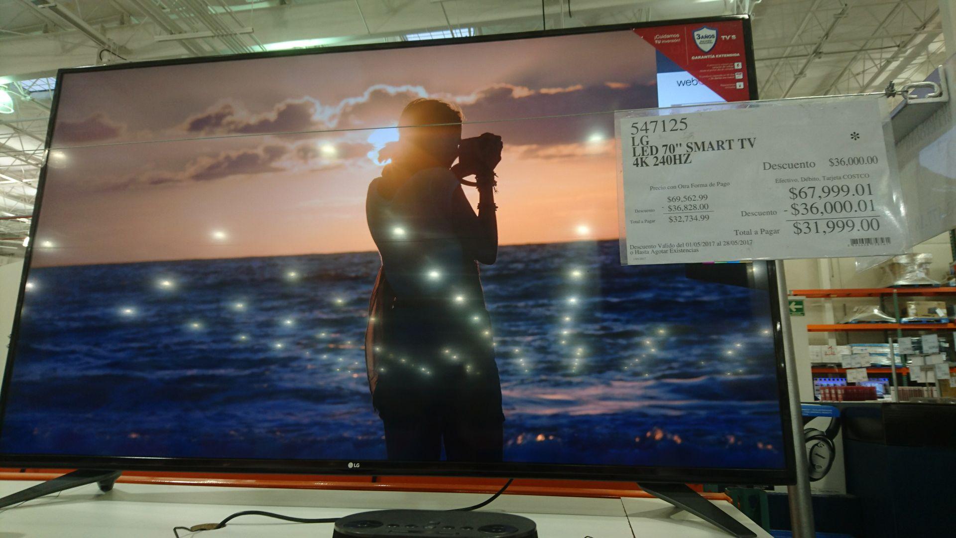 """Costco: Smart tv LG 70"""" 4k 240 hz de 67999 a 31999"""