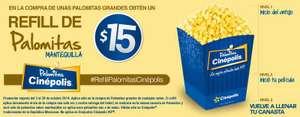 Cinépolis: refill de palomitas $15