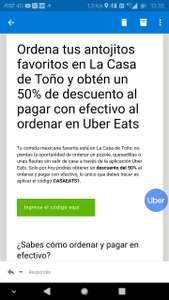 Todos los usuarios! 50% de descuento en Casa de Toño pagando en efectivo con UberEats