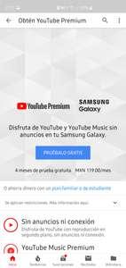 Samsung: 4 meses de YouTube premium gratis