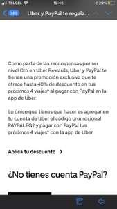 Uber: 40% de descuento (para usuarios oro en adelante pagando con paypal)