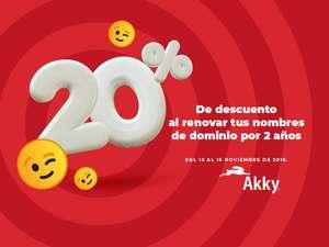 AKKY: 20% dominios 2 años