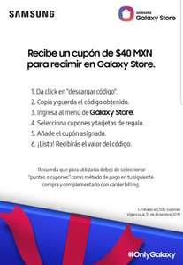 Cupón $40 gratis para Galaxy Store