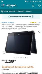 Amazon USA: Renewed 4.1 de 5 estrellas59Opiniones Acer - C738T-C44Z Chromebook Pantalla táctil