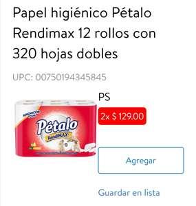 Walmart Súper: Papel higiénico Pétalo Rendimax 12 rollos con 320 hojas dobles