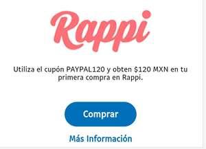 Rappi $120 de descuento con paypal (USUARIOS NUEVOS)