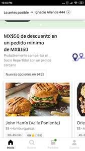 UBER EATS: 50 pesos de descuento en mínimo 150 (usuarios seleccionados)