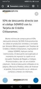 Amazon: Cupón de 10% de descuento Directo pagando con Citibanamex durante Hot Sale