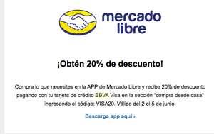APP de Mercado Libre cupón 20% de descuento con tarjetas VISA