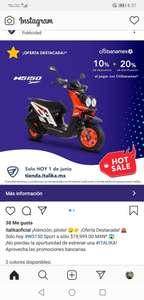 Italika: Motoneta Italika 10% más el 20% de devolución con tarjetas participantes a meses sin intereses