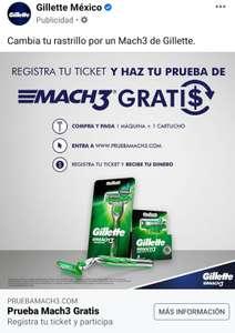 Gillette Mach3: Registra tu ticket y recibe un reembolso del producto