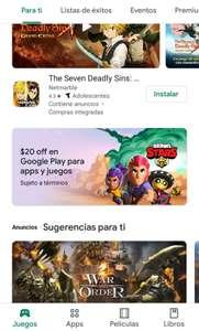 Google Play: 20 pesos de descuento en la compra de cualquier app o dentro de alguna app