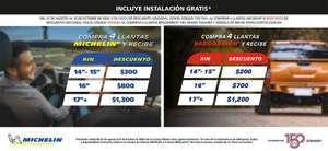 Costco: Cupón de hasta $1300 de descuento en llantas Michelin y BF Goodrich