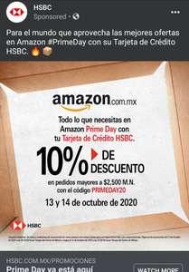 Amazon: 10% de Descuento en Prime Day con HSBC en pedidos mayores a $2500