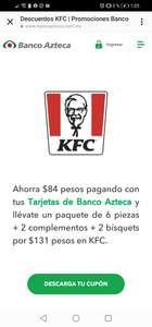 KFC: paquete de 6 piezas + 2 complementos + 2 bísquets por $131 pagando con Banco Azteca
