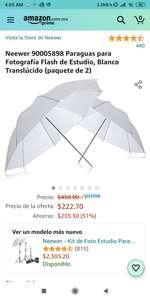 Amazon: Paquete de 2 paraguas Neewer para fotografía