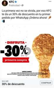 KFC: 30% de descuento primera compra
