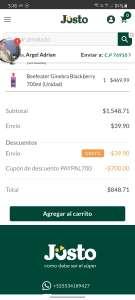 Jüsto: Descuento al pagar con PAYPAL -$700 compra mínima $1500 (nuevos usuarios)