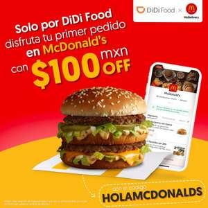 Didi Food: Primer pedido en Mcdonalds $100 descuento