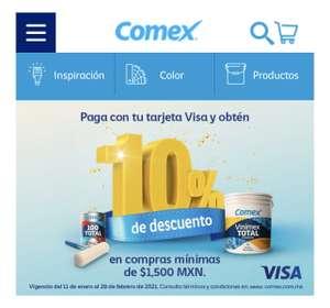 Pinturas Comex, paga con tu tarjeta Visa y obtén un 10% de descuento