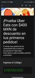 $400 pesos de descuento usuarios nuevos de Uber eats